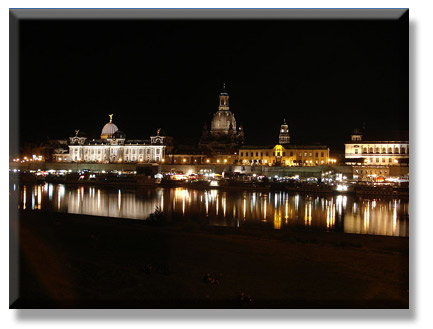 Dresden at night viewed from across the ElbePhoto courtesy Wikipedia/Mgw89