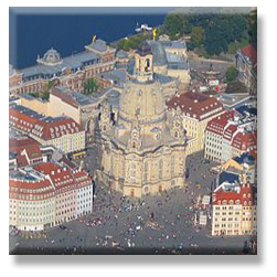 Aerial photo Church of Our Lady (Frauenkirche) in Dresden.  Photo courtesy Wikipedia.