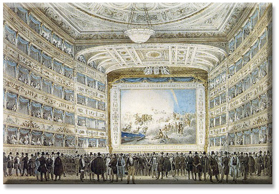 Interior of La Fenice in 1837. Original at Museo Correr