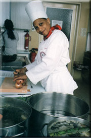 happy woman student chef